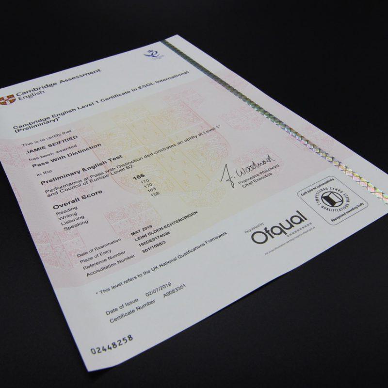 PET Cambridge Certificate, Fremdsprachenzertifikat, Realschule Bühl